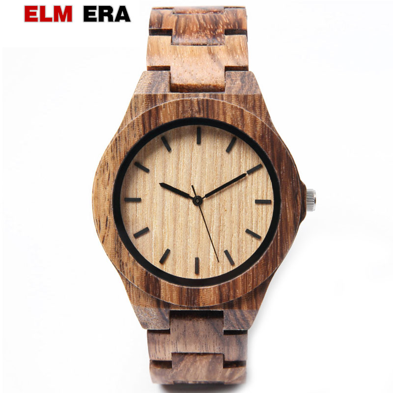 ELMERA Wood Clock Wrist-Watches Men's Relogio Masculino