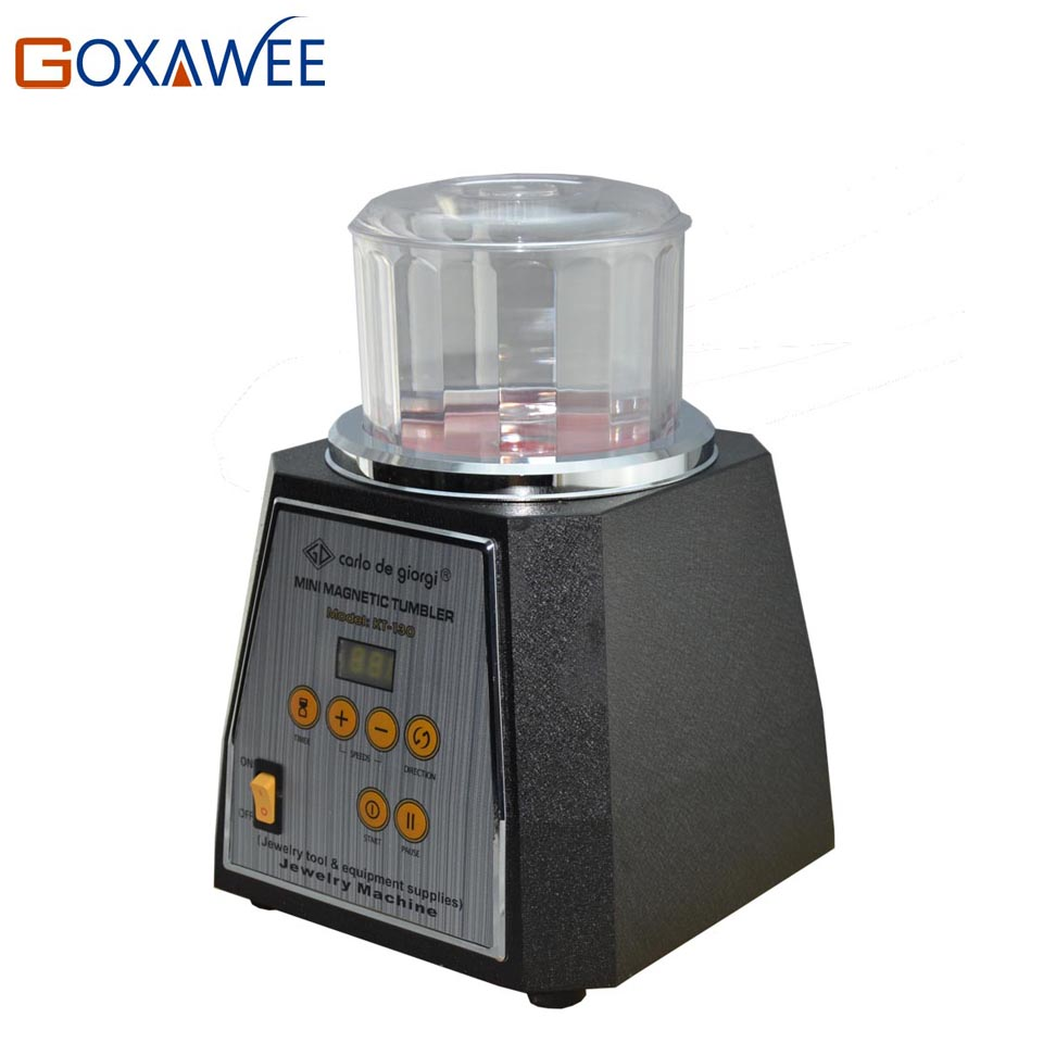 GOXAWEE KT-130 Magnetic Tumbler Polisher Jewelry Bench Polisher Finisher Mini Machine Magnetic Tumbler Jewelry Polishing Tools