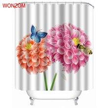 WONZOM Big Flower Shower Curtains Bathroom Waterproof Accessories With 12 Hooks For Decor Modern Bath Curtain Gift