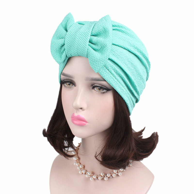 Europe And America Popular Hair Accessories Bowknot Women Turban Hats Cotton India Hat Turban Hats Muslim Inner Hijabs Hats