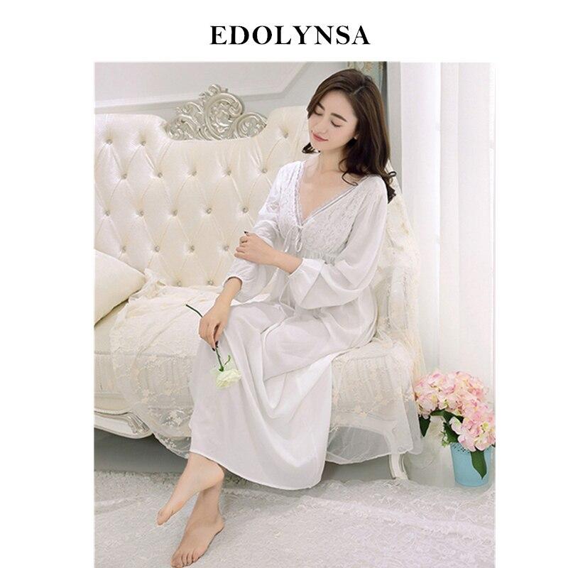 Solid   Nightgowns     Sleepshirts   2019 Lace Sleepwear Elegant Nightdress Vintage Indoor Clothing Comfortable   Nightgown   Female #H486