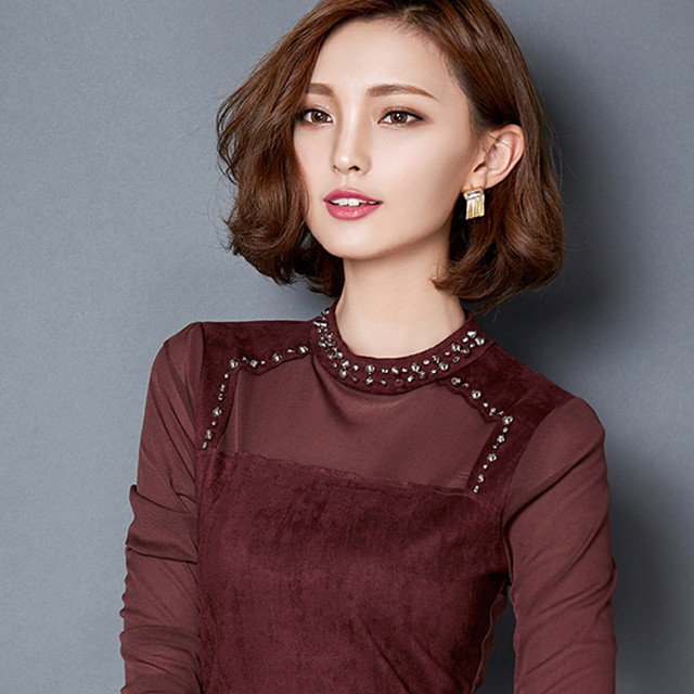 Attractive Korean Fashion Slim Flannel Blouses
