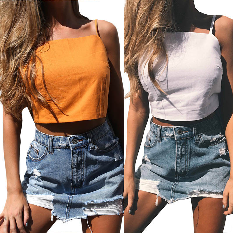 Sexy Women Strap Belt Lace Up Tank Top Tees Summer Beach Bow Cropped Backless Sleeveless Tops FS99