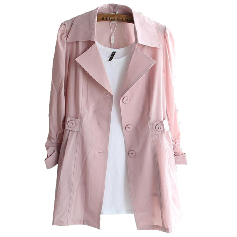 Women Cardigans Casual   trench   coat 2018 Spring and summer Turn-down Collar Long   Trench   Ladies Pleated Pocket Design Outwear Coat