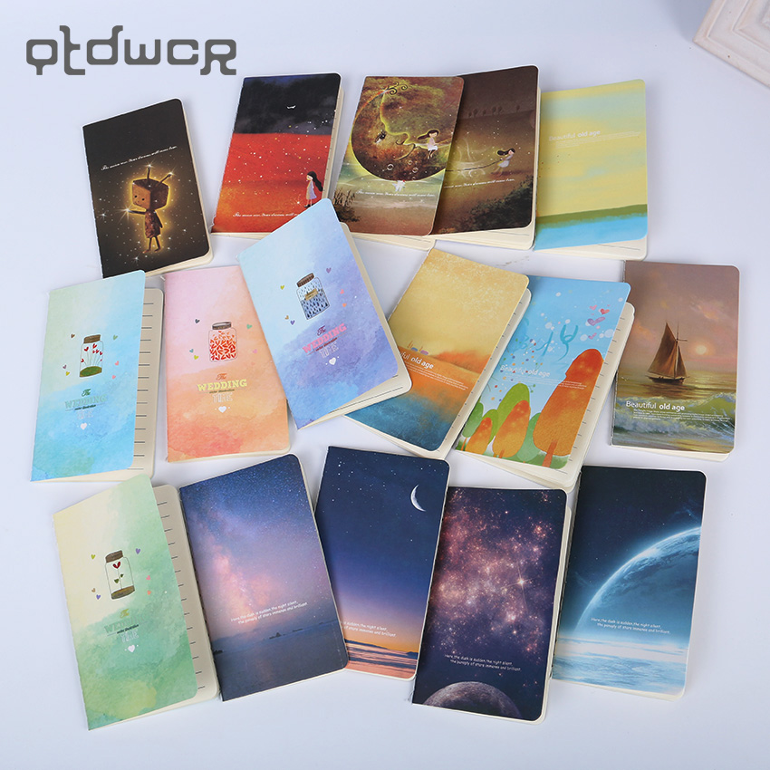 1PC Mini Cute Ocean Series Notebook Wishing Bottle Childhood Fantasy Style Notepad Moon Star Universe Diary Portable Notebook