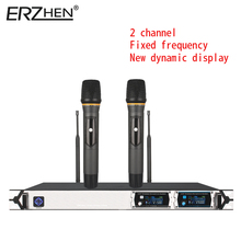 Wi-fi Microphone New U8000GT2 UHF 2 Channel Fastened Frequency + Dynamic Display screen + KTV + Skilled Microphone