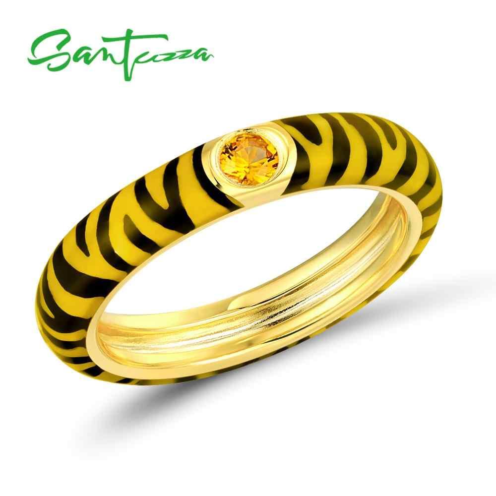 SANTUZZA แหวนเงินผู้หญิงที่มีสีสัน Zebra Stripe Eternity แหวน 925 เงินสเตอร์ลิงแฟชั่นเครื่องประดับเคลือบทำด้วยมือ