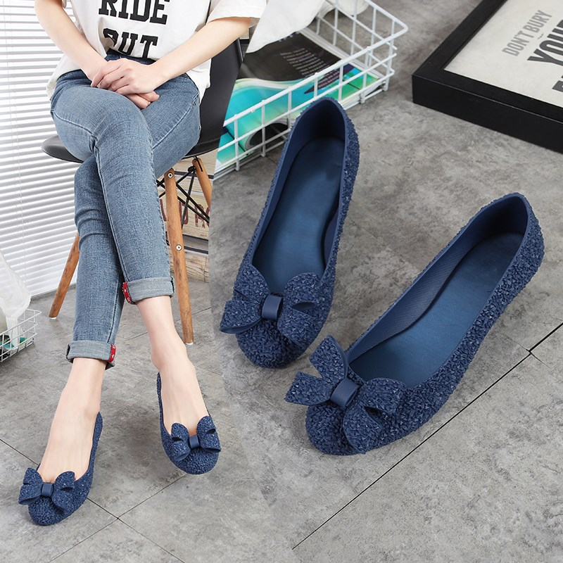 EOEODOIT Wedges Heel Jelly Pumps Women Rain Shoes Sandals Med Heel Round Toe Jelly Shoes Bow Slip On 2019 Spring Summer Heels