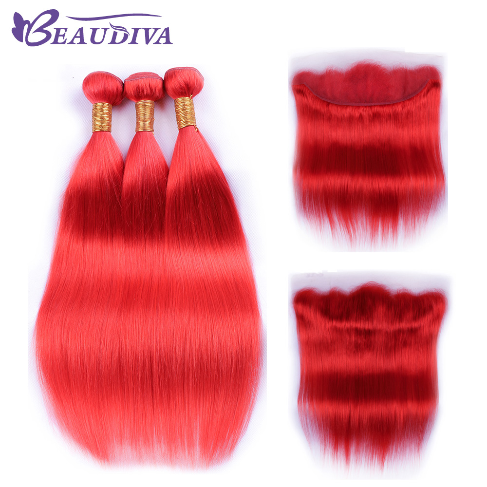Beaudiva Pre colored Red Brazilian Straight Hair With Lace Frontal 3 Pieces Straight Human Hair With