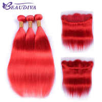 Beaudiva Pre-colored Red Brazilian Straight Hair With Lace Frontal 3 Pieces Straight Human Hair With Lace Closure Free Part 13*4