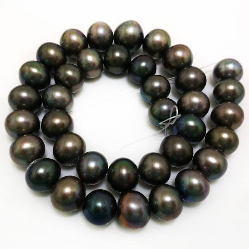 16 inches 12-13mm AA+ High Luster Black Natural Real Round Pearl Loose Strand for Necklace 16 inches 12-13mm AA+ High Luster Black Natural Real Round Pearl Loose Strand for Necklace