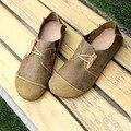 (35-42) sapatos de couro Liso Genuína Mulher Sapatos de Café/Verde Das Senhoras Senhoras Sapato Mocassim Calçado Deslizar sobre Ballet Plana (D1502)