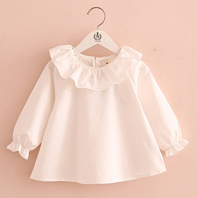 Toddler Girl Shirts 2018 Spring Fashion White Purple Blue Color Baby Girls Blouses Cute Long Sleeve Ruffle Tops Kids Clothes