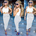 2016 Hot Sale Women Summer Vestidos Dresses Sexy Party Bandage Bodycon New Fashion Night Club Striped Sleeveless outfits Dresses