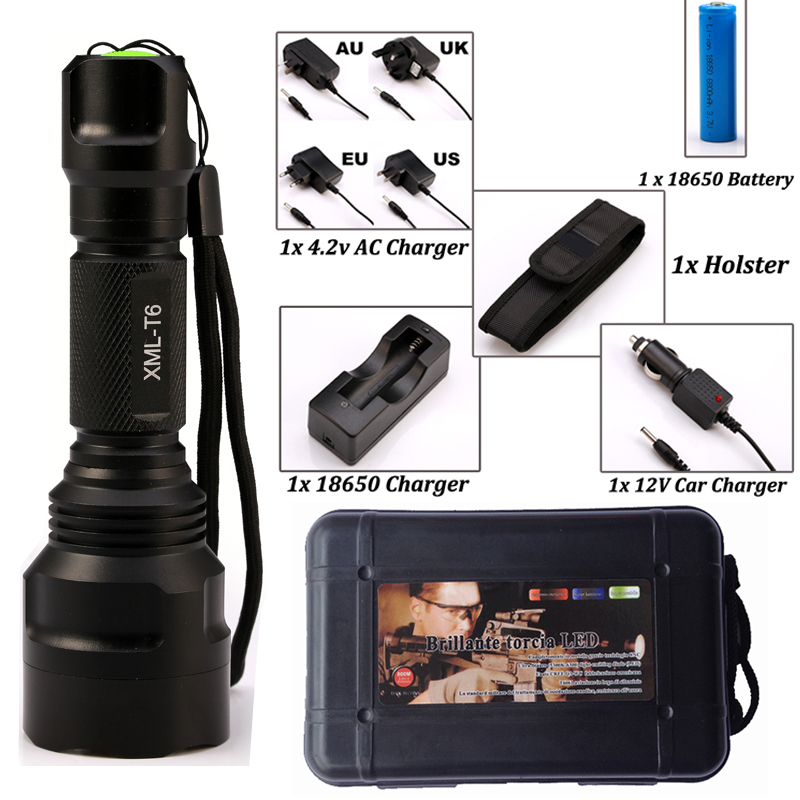 LED CREE Flashlight C8 8000 lumens XM-L2/T6 High Power Tactical Flashlight Camping Light + Charger+1*18650 Battery+Holster cree xm l t6 bicycle light 6000lumens bike light 7modes torch zoomable led flashlight 18650 battery charger bicycle clip