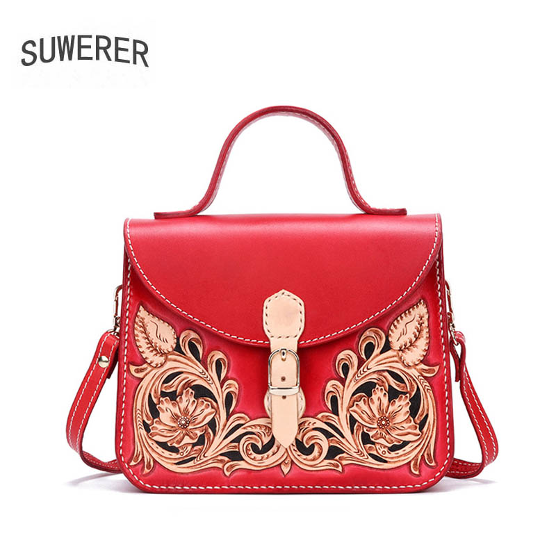 SUWERER Women Genuine Leather bag Handmade Carved cowhide luxury fashion red tote women leather bag designer women famous brand