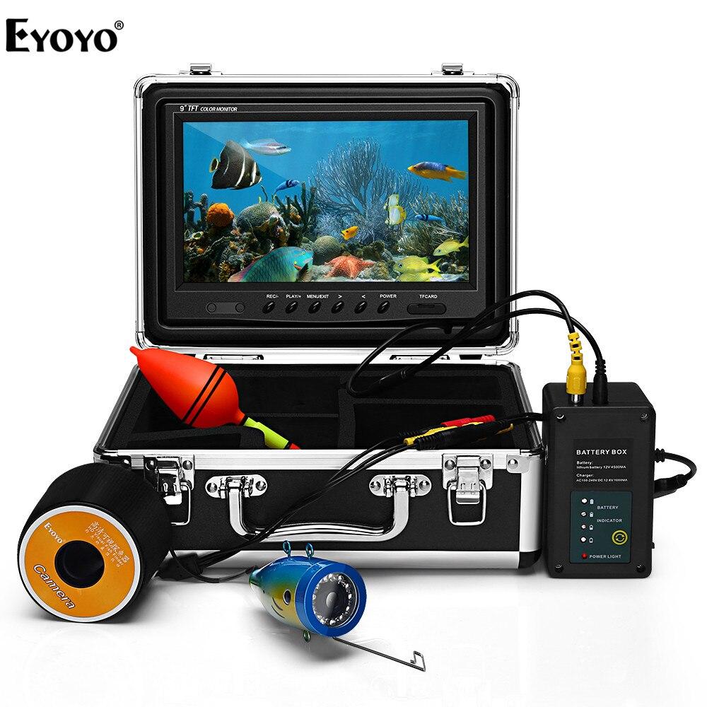 EYOYO EF09 D'origine 9 30 M HD 1000TVL détecteur de poissons Sous-Marine Glace De Pêche caméra vidéo Kit 9 écran lcd 24 Contrôlable led
