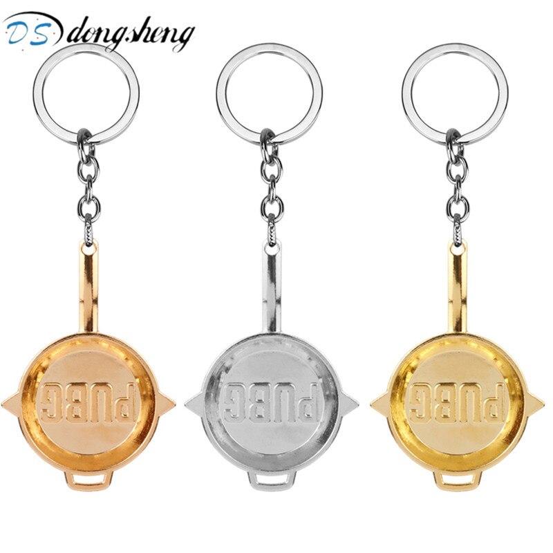 dongsheng Playerrunknowns Battergrounds Keychain PUBG Key Ring Champion Pot Car Bag Mini Pans Keychain Llavero Chaveiro for Men