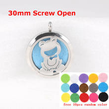 30mm Frog Diffuser Locket Stainless Steel Essential Oil Diffusing Necklace Perfume Pendant With Free Pads and chain