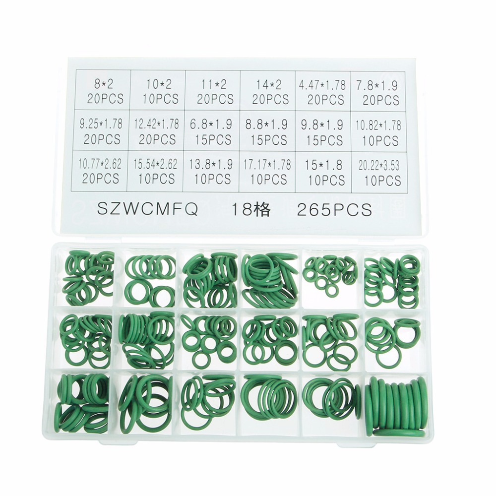 265Pcs Rubber Car A//C System Air Conditioning O Ring Seals Vehicle Kit Tools Set