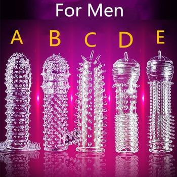 5 modèles retarder la gaine de pénis en cristal Extension texturée pénis réutilisable pour Couple anneau produits de sexe jouets sexuels pour adultes pour hommes