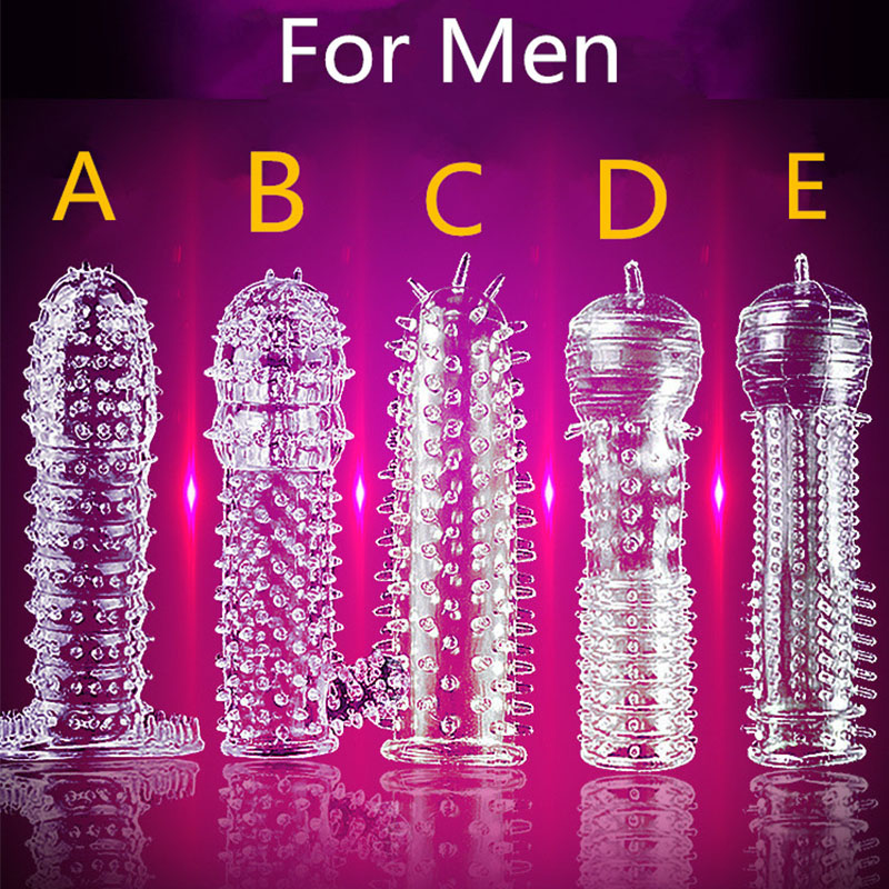 5 Models Delay Crystal Penis Sleeve Textured Extension Reusable penis <font><b>for</b></font> Couple ring <font><b>Sex</b></font> Products <font><b>Adult</b></font> <font><b>Sex</b></font> <font><b>Toys</b></font> <font><b>for</b></font> <font><b>Men</b></font> image