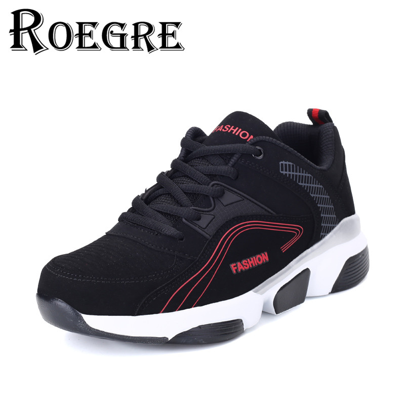 ROEGRE 2017 New Spring Casual Shoes Men Lace Up Outdoor Trainers Plus Size 45 Fashion Men's PU Leather Flats Shoes Black Green 2017 new summer breathable men casual shoes autumn fashion men trainers shoes men s lace up zapatillas deportivas 36 45