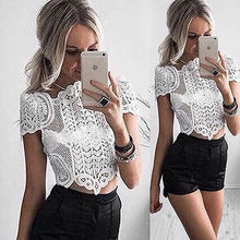 2016 Summer Womens Lace Blouse Hollow Out Sexy Shirts Short Sleeve Lace Shirt Tops Blouse Ladies Tops