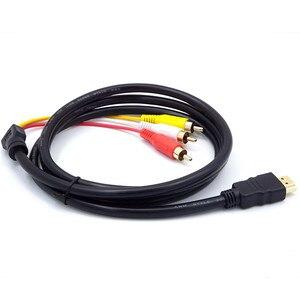 Image 5 - Macho hdmi para 3rca av composto, macho m/m, conector, cabo adaptador, transmissor, may31, preço de fábrica, envio 0606