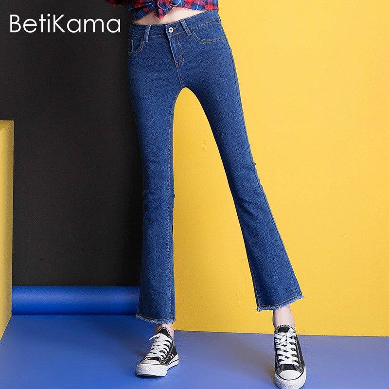 Betikama Fashion Skinny Jeans Micro Flare Pants Women High Quality Elastic Fabric Black Blue Denim Jeans Slim Push Up Jeans 4xl Delaying Senility Bottoms
