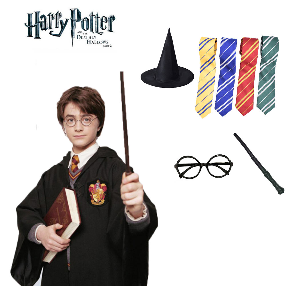 Harry Potter Costume Magic Robe Cloak Tie Scarf Wand Glasses Harri Potter Cosplay Clothing Gryffindor Slytherin Halloween Party