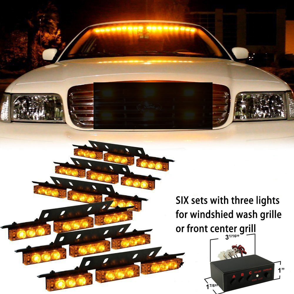 2017 Car Styling Super Bright Automobiles 54 LED Emergency Warning Light Auto Vehicle Strobe Lights Bars Amber 54 led emergency vehicle strobe lights bars warning deck dash grille amber white