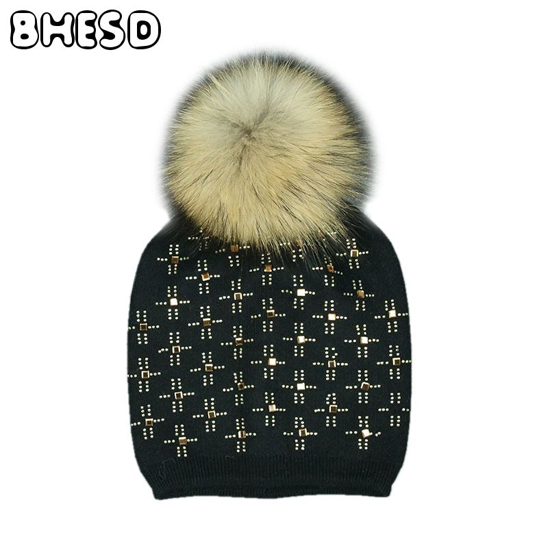 2017 Real Mink Fur Pom Pom Skullies Hat Female PomPom Knitted Fur Cap Women Rhinestone Beanie Hat Winter Lady Bone Gorro JY-072 women s winter beanie hat wool knitted cap shining rhinestone beanie mink fur pompom hats for women