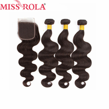 Miss Rola Hair Brazilian Body Wave Hair Weaving 3 Bundles With Closure 2 Color 100 Human