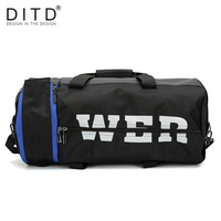 DITD New Style Large Capacity Sports bag Men's Multi Function GYM Bag Nylon Hand held barrel bag 2019 popular Travel Leisure bag
