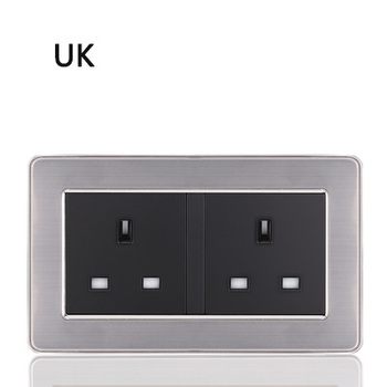 86 type 1 2 3 Gang 1 2 Way bright switch wall Socket with led brushed stainless steel switch French German UK electric socket 24