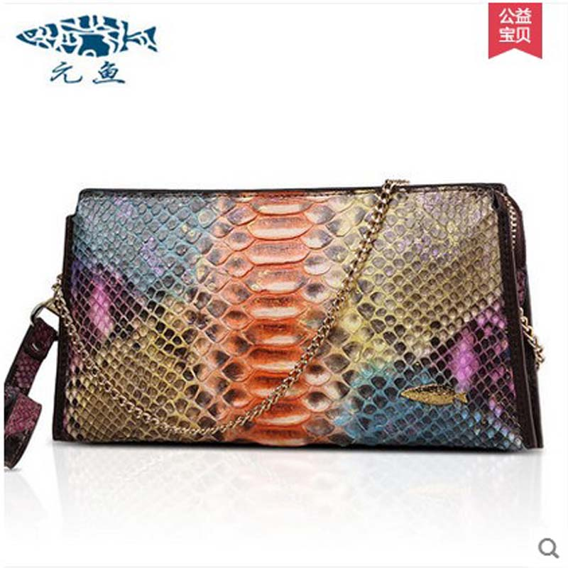 yuanyu 2018 new hot free shipping Python skin bag rare leather single shoulder handbag serpentine lady bag women handbag beijue boa leather single shoulder women handbag chain bag single shoulder bag black python skin