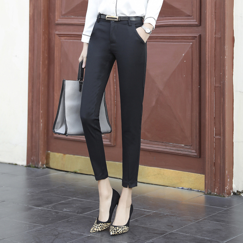 2018 Spring New High Waist Female Pants Capris Fashion With Belt Trousers For Women Black Office Lady Trousers For Women