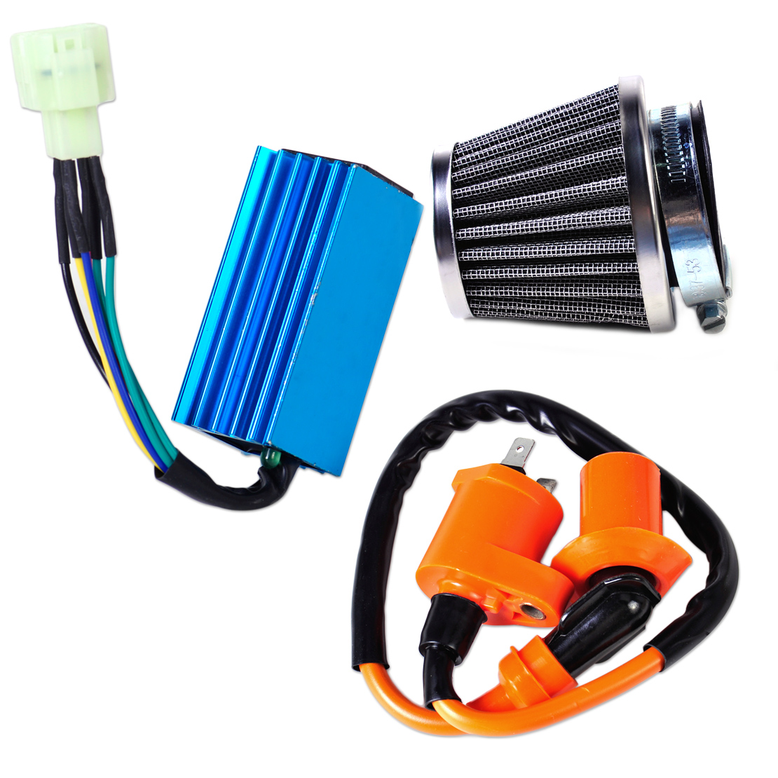 US $15 73 14% OFF|DWCX Motorcycle Racing Performance Ignition Coil +CDI Box  + Air Filter Kit for GY6 50cc 150cc Scooter Moped Go Kart Dirt bike-in