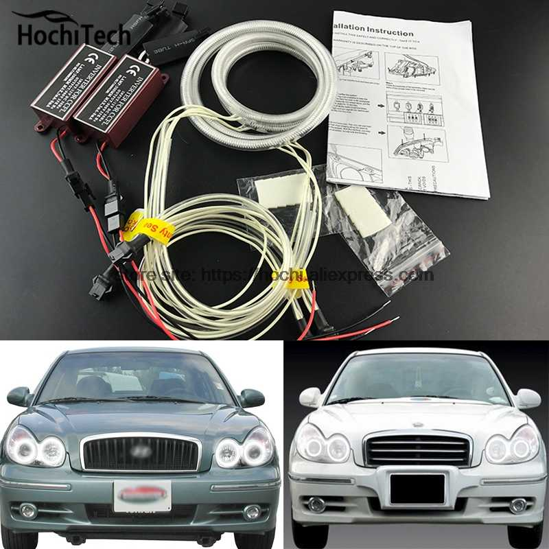 HochiTech ccfl angel eyes kit wit 6000 k ccfl halo rings koplamp voor Hyundai Sonata 2002 2003 2004 2005