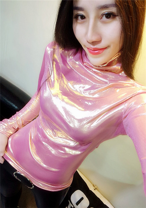 turtleneck Autumn and winter sexy glitter gold-plated high-necked long-sleeved shining T shirt Bronzing Fashion boutique