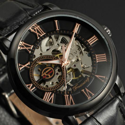 Prix pour Forsining Noir Boîtier en Or Hommes Montre En Cuir Creux Squelette Montre Automatique Montre Mens Montres Haut Marque De Luxe Horloges Mannen