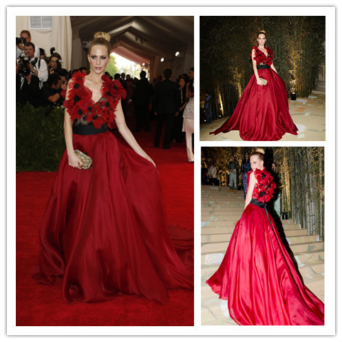 47294d4557c Mgc22 знаменитости платья встретился гала красный мак Delevingne с v  образным вырезом цветы вечерние платья ну вечеринку платья халат де вечер  купить на