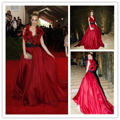 Mgc22 знаменитости платья встретился гала красный мак Delevingne с v-образным вырезом цветы вечерние платья ну вечеринку платья халат де вечер