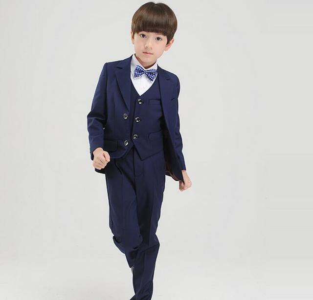 top quality boys dark blue blazer 4 pcsset wedding suits for boy formal dress