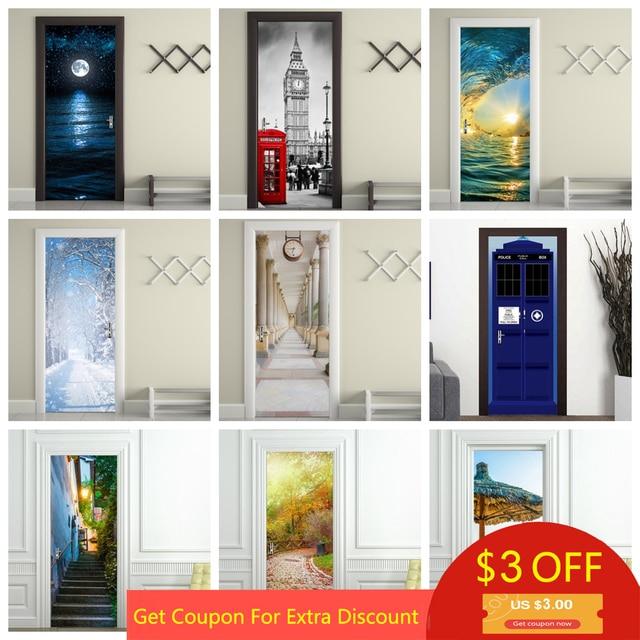 Украшение для дома 3d наклейка deur adesivi per porte ландшафтное искусство обои на дверь водонепроницаемый плакат для декора стен двери