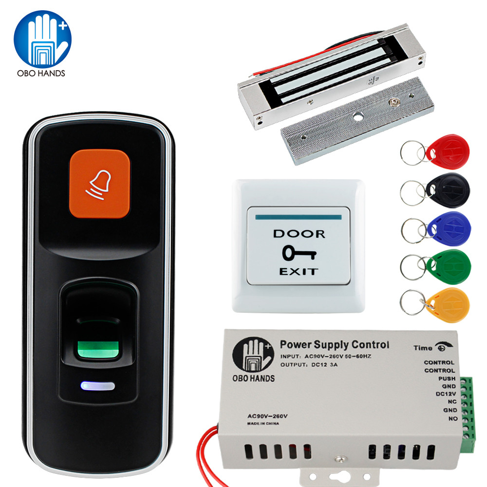 OBO RFID Door Access Control System Kit Set 125KHz Fingerprint Biometric +Electric Magnetic Electronic Locks+ DC12V Power Supply