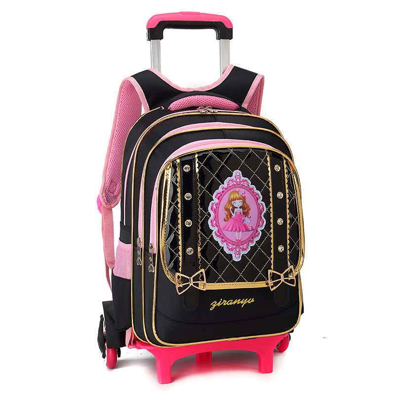 6 Wheels Princess backpack Girls Children School Bag Trolley school Backpack kids Gift Girls Removable Trolley Children scholbag