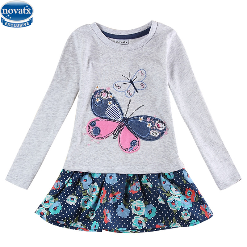 2 colors Fashionable girls frock children clothes butterfly kids dresses nova baby clothing autumn wear child  -  NOVA & NOVATX Factory Store store