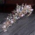 O estilo barroco de luxo coroa de noiva tiaras de casamento para noivas cocar rosa e amarelo do vintage